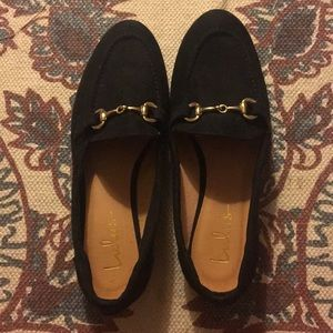 Black Suede Loafers with Gold Buckle
